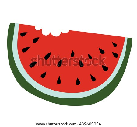 Slice of watermelon with a bite taken off - stock vector