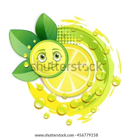 Slice of yellow lemon with leafs and a smiley face - stock vector