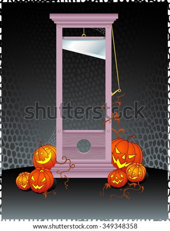 Slice Up Halloween-Guillotine with pumpkins on textured background - stock vector