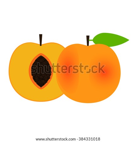 Sliced and whole peach. White background. Isolated. - stock vector