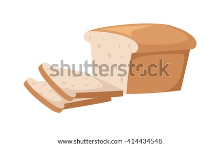 Sliced bread isolated on white background. Bread slices vector food and fresh tasty bread slices. Bread slices breakfast loaf white wheat and bread slices diet crust natural eat fresh bake. - stock vector