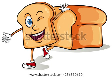 Sliced bread with a face on a white background