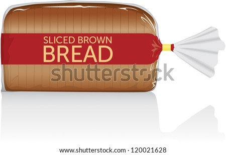 Sliced brown bread loaf vector visual, in clear plastic film bag - stock vector