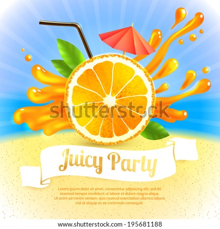 Sliced orange and cocktail straw with splash on background party poster vector illustration - stock vector