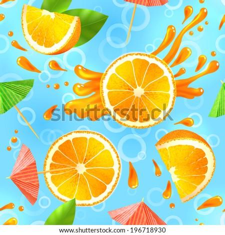 Sliced orange and cocktail umbrellas with splash seamless pattern vector illustration - stock vector