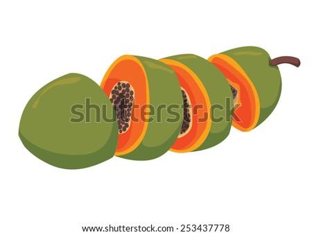 Sliced Papaya