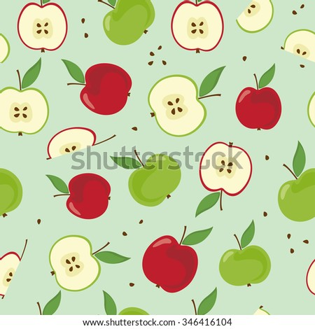 Sliced red green apples with seeds. Seamless fruits pattern. Light green background. Random layout. Vector illustration.
