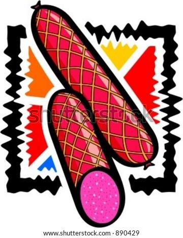 Sliced sausage.salami.Vector illustration. - stock vector