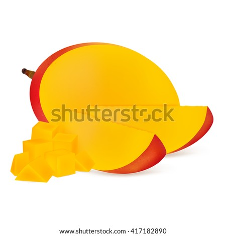 Slices of mango fruits isolated on white background. Realistic vector illustration. - stock vector