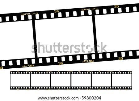 slide film frame numbers are from 31 to 36. - stock vector