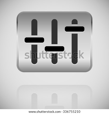 slider, fader, potentiometer icon on metal plate.  - stock vector