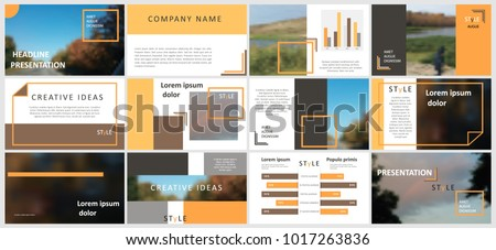 Slides Modern Presentation Template Abstract Infographic Elements Title Sheet Brochure Cover Design