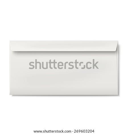 Slightly, ajar opened DL envelope isolated on white background - stock vector