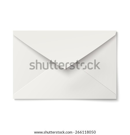Slightly, ajar opened white envelope isolated - stock vector