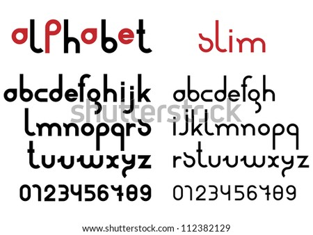 Slim black font and numbers. Vector set