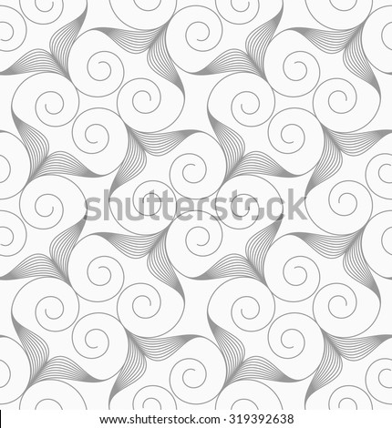 Slim gray swirly hearts turned.Seamless stylish geometric background. Modern abstract pattern. Flat monochrome design. - stock vector