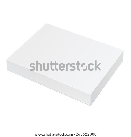 Slim Realistic White Package Cardboard Box Opened. Square shape. For Software, electronic device and other products. Vector illustration