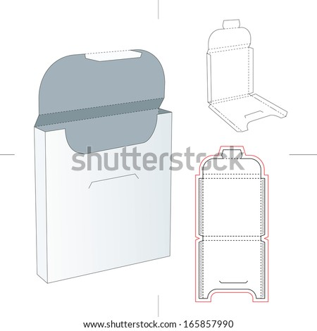Slim Square Box with Blueprint Layout - stock vector