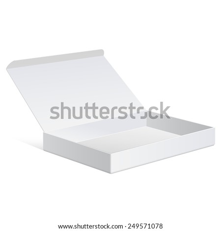 Slim White Package Cardboard Box Opened. For any product. Vector illustration - stock vector
