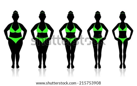 slimming woman in a swimsuit in different weights - stock vector