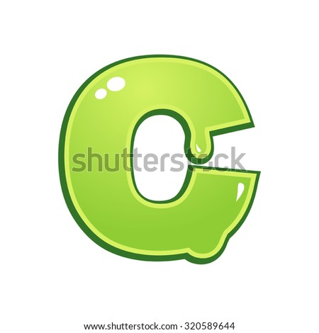 Slimy font type letter C - stock vector