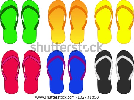 slippers, flip-flop multicolored vector illustration
