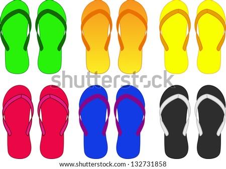 slippers, flip-flop multicolored vector illustration - stock vector