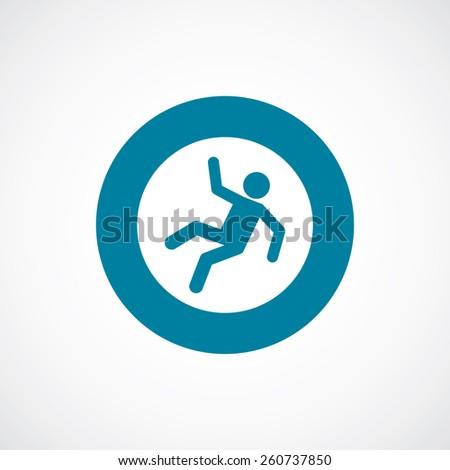 slippery floor icon bold blue circle border, white background   - stock vector