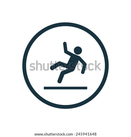 slippery floor icon on white background  - stock vector