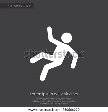 slippery floor premium illustration icon, isolated, white on dark background, with text elements  - stock vector