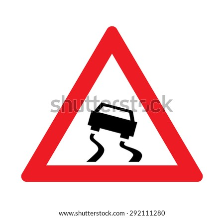 Slippery road warning of traffic signs - stock vector