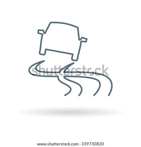 Slippery road when wet icon. Slippery road when wet sign. Slippery road when wet symbol. Thin line icon on white background. Vector illustration. - stock vector