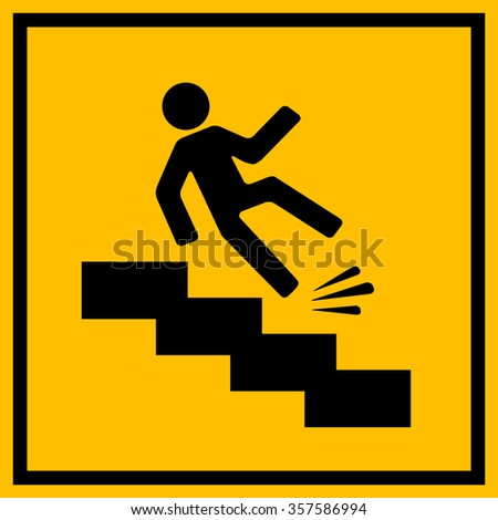 Slippery stairs warning sign illustration isolated on white background - stock vector