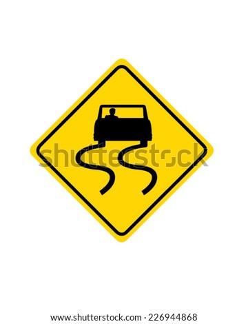 Slippery When Wet Road Sign - Vector - stock vector