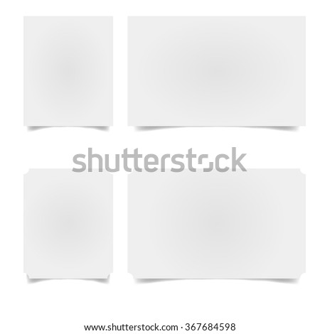 slips of paper with the shadow. Empty paper banners on white background with soft shadows.  - stock vector