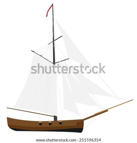 Sloop ship vector with white sail icon, sailboat transport, nautical, cruise ship - stock vector