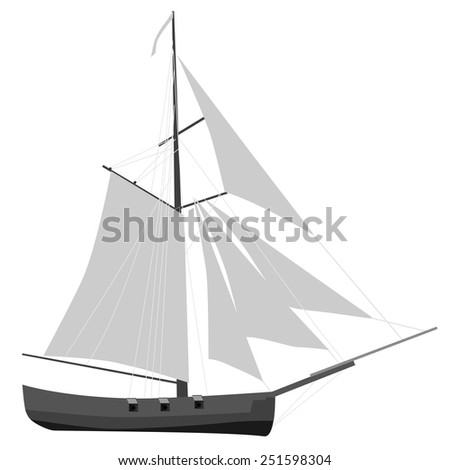 Sloop ship with gray sail vector icon, sailboat transport, nautical, cruise ship - stock vector