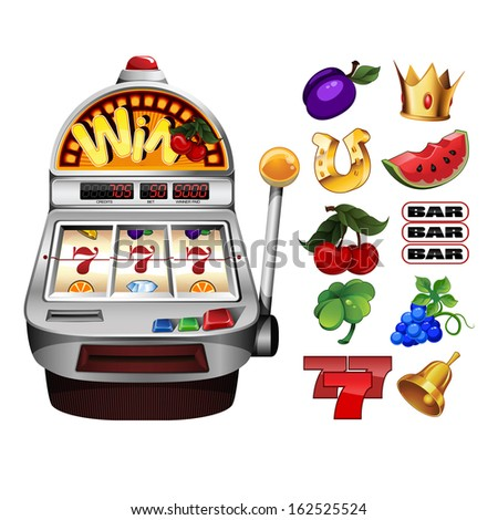 Slot fruit machine with cherry winning on cherries and Various slot fruit machine icons - stock vector