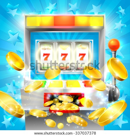 Slot machine casino jackpot concept with a slot or fruit machine hitting lucky 777 and gold coins flying out - stock vector