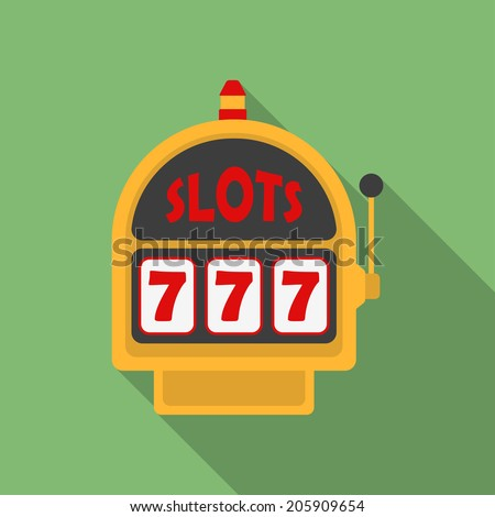 Slot Machine icon. Modern Flat style with a long shadow - stock vector