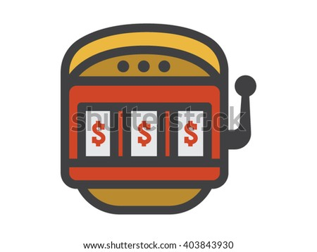 Slot Machine Illustration - Flat Icon
