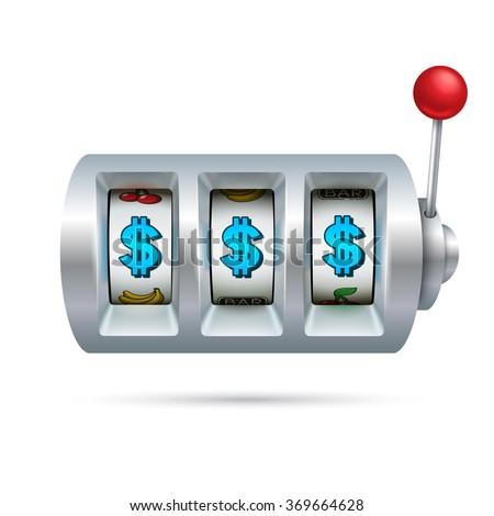 Slot machine isolated on white background - stock vector