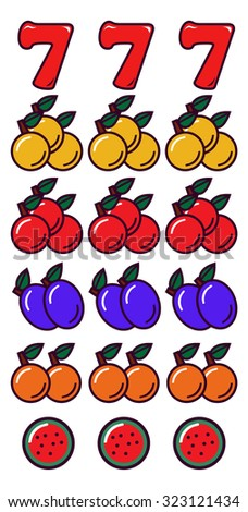 Slot Machine Items Collection - stock vector