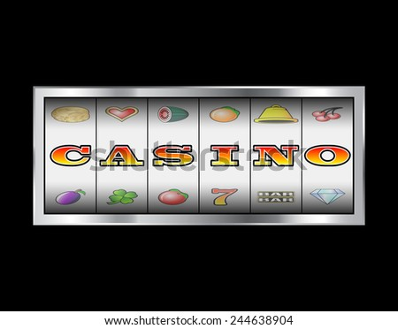 Slot machine reels casino in letters vector sign  - stock vector