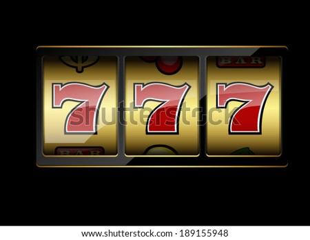 Slot machine symbols on black background. Lucky seven. Vector illustration - stock vector