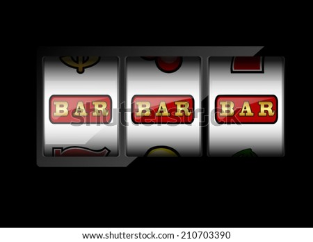 Slot machine symbols on black background. Three bar signs.