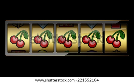 Slot machine symbols on black background. Vector illustration  - stock vector