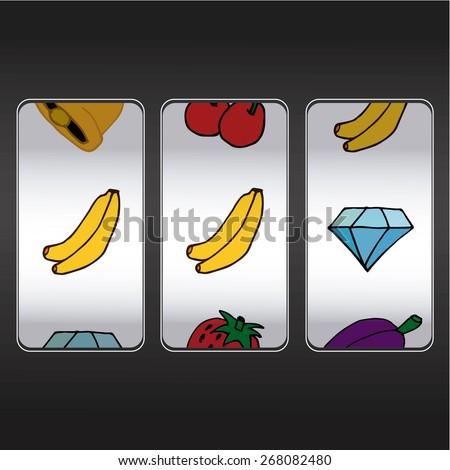 slot machine,two bananas and  one diamond - stock vector