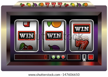 Slot Machine Win - Illustration of a slot machine with three reels and the lettering WIN. Vector on white background.