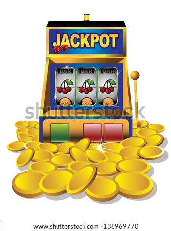 Slot machine with gold coins.  EPS 10 vector, grouped for easy editing. No open shapes or paths. - stock vector